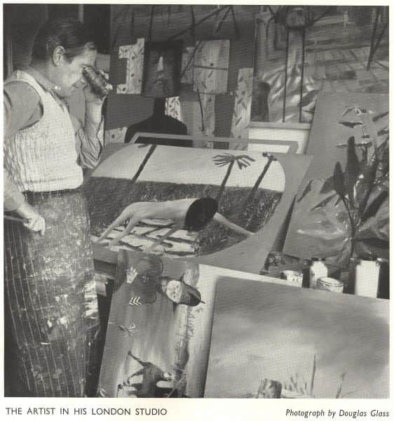 Douglas Glass, photo from 1957 Whitechapel Art Gallery Catalogue showing Nolan in his studio