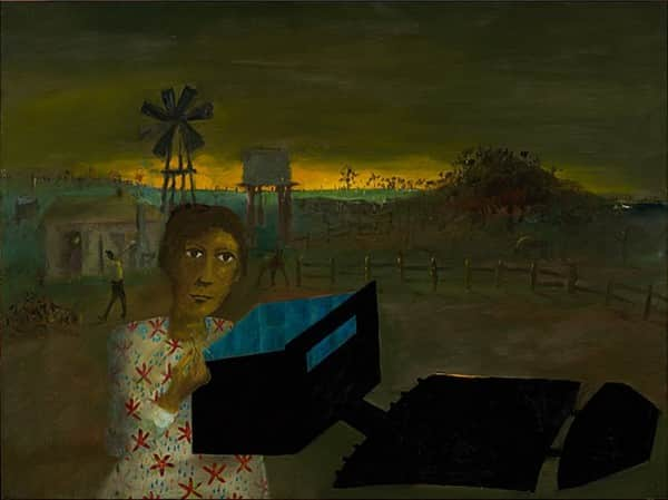 """Quilting the armour"", January 1947, Sidney Nolan, NGA collection."