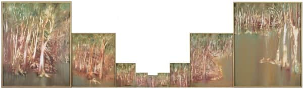 """Riverbend"", 1964-65, Sidney Nolan. Note that the size of the middle seven panels has been progressively reduced in this presentation."