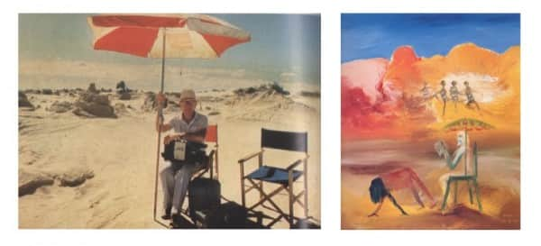 "left, Nolan on location for shooting of ""Burke and Wills"", 1984; right, Sidney Nolan, ""Robert Melville at Alice Springs"", 1985."
