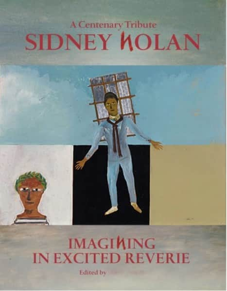 "Mock-up for cover of proposed Nolan centenary tribute book. The painting is Nolan's 1948 ""Orphée"", collection NGA."