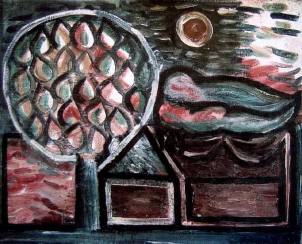 "Sidney Nolan, ""Lovers, Tree and Moon"", Dec 1941"