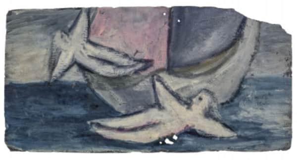 Sidney Nolan, painting on slate, 'Ship', 13 Jan 1942, UQ Art Museum collection