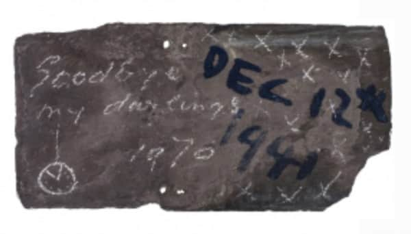 Sidney Nolan, inscription on verso of painting on slate, untitled, 12 Dec 1941, UQ Art Museum collection