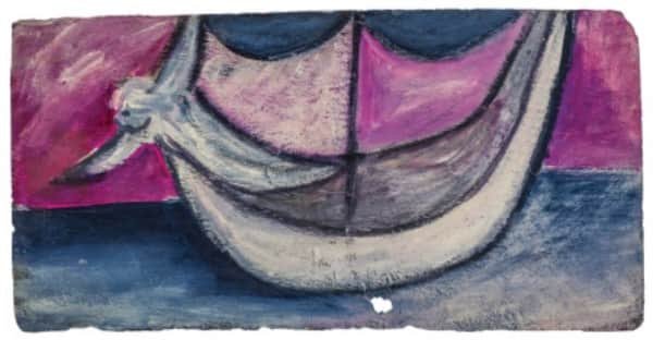 Sidney Nolan, painting on slate, untitled (boat and angel), 13 Jan 1942, UQ Art Museum collection