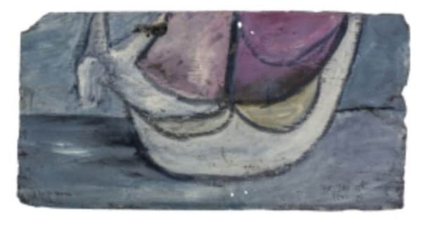 Sidney Nolan, painting on slate, 'Ship', 13 Jan 1942, UQ Art Museum collection