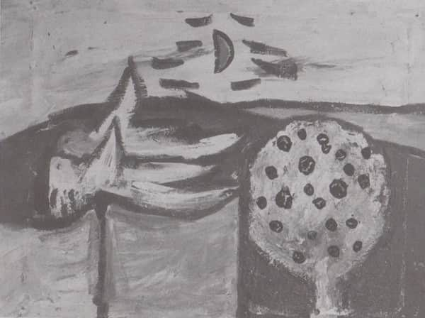 """Sidney Nolan, """"Figure and Tree"""", 1941, b & w reproduction in """"Such is Life"""""""
