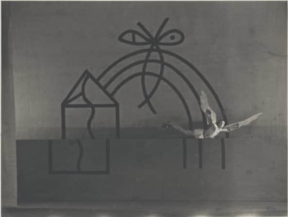 "Sidney Nolan, set for ""Icare'. Roman Jasinsky as Icare, the Original Ballet Russe, Australian tour, His Majesty's Theatre, Melbourne, May 1940 / Hugh P. Hall"
