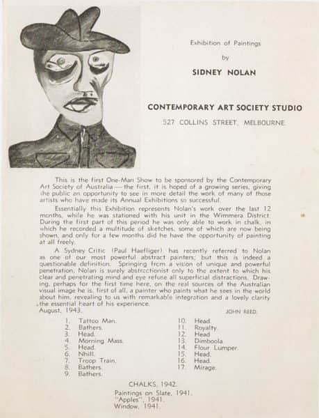 "Leaflet for Nolan's 1943 One Man Show. The painting is his 1942 ""Head of a soldier"", collection NGA"