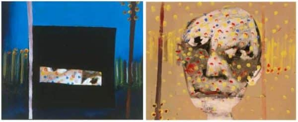 "(left) Sidney Nolan, ""Ned Kelly: 'Nobody knows anything about my case but myself'"" 1945, Heide Museum of Modern Art, Melbourne; (right) Digital colour recreation of first stage of the painting based on X-ray fluorescence"